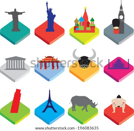 world famous landmarks as icon or button designs in colour on white background - stock vector