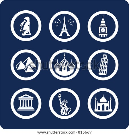 "World Famous Places (p.1) To see all icons, search by keywords: ""agb-vector"" or ""agb-raster"" - stock vector"