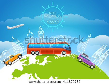 World famous signts lineart silhouettes on Earth. Take vakation around the world - stock vector