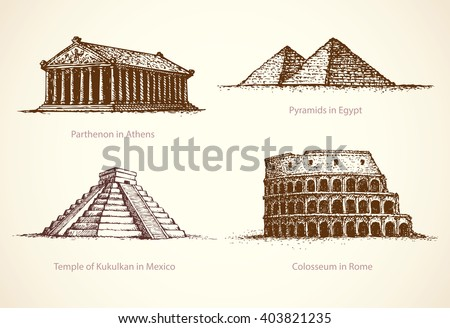 World famous touristic place of old known great historical memorials of Africa, America, Europe. Freehand outline ink drawn picture icon sketchy in art retro doodle style pen on paper background - stock vector