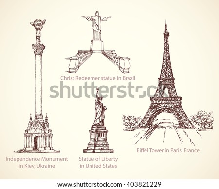 World famous touristic place of old known great patriotic art memorials, obelisk column. Freehand outline ink hand drawn picture icon sketchy in retro doodle style pen on paper background - stock vector