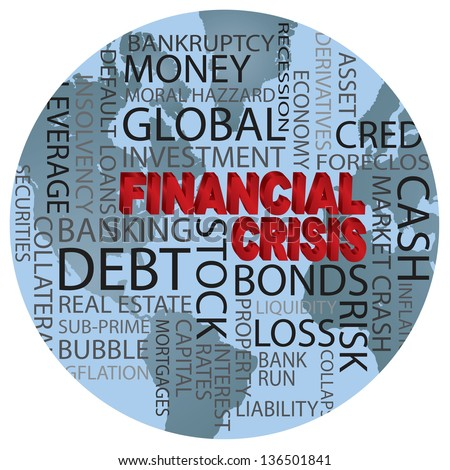 World Financial Crisis 3D in Red Word Cloud Illustration in World Globe Background Vector - stock vector