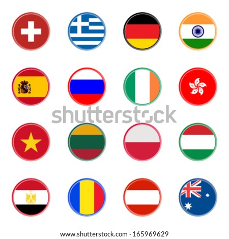 world flag icons - stickers 2/4 (official colors) - stock vector