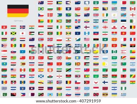 World Flag Illustrations in the shape of a Rectangle with a rounded corner - stock vector