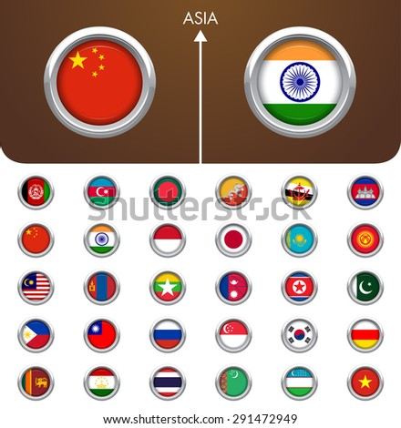 World Flag Metal Badges collection. Asia - stock vector
