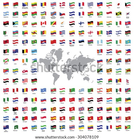 World flags all vector color official isolated - stock vector