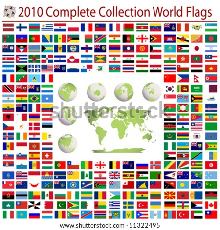 World flags and editable world map, complete collection - stock vector