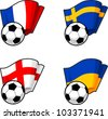 World flags and soccer ball - stock photo