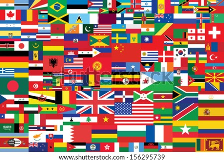 world flags background - stock vector