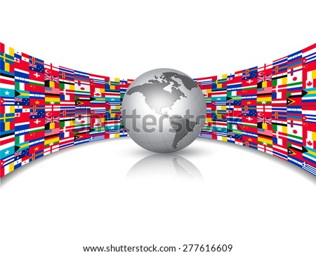 World flags background with a globe. Vector. - stock vector