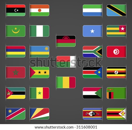 World flags collection, Africa, part 2. Labeled in layers panel. Flags on the right hand side reflected around vertical axis.