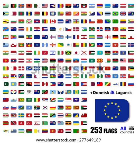World Flags Collection - All Sovereign States Small Icons Set on 2015 - with Donetsk and Luhansk - Vector Illustration - stock vector