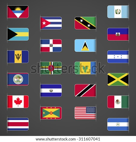 World flags collection, North and Central America. Labeled in layers panel. Flags on the right hand side reflected around vertical axis. - stock vector