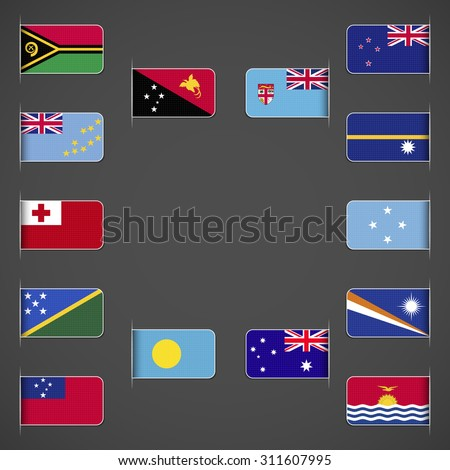 World flags collection, Oceania. Labeled in layers panel. Flags on the right hand side reflected around vertical axis.