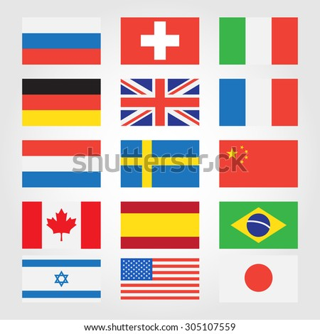 World flags. Europe. Vector. - stock vector