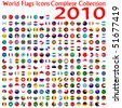 world flags icons collection, abstract vector art illustration - stock photo