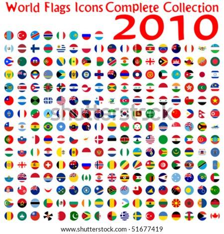 world flags icons collection, abstract vector art illustration