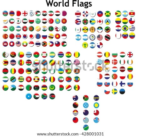 World flags in badges style