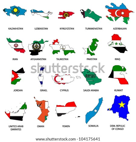World Flags - Map Pack 6 - stock vector