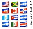 World flags. North America. Vector. - stock vector