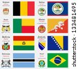 world flags of Belgium, Belize, Benin, Bhutan, Bolivia, Bosnia and Herzegovina, Botswana and  Brasil, with capitals, geographic coordinates and coat of arms, vector art illustration - stock vector