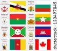 world flags of Brunei, Bulgaria, Burkina Faso, Burma or Myanmar, Burundi, Cambodia, Cameroon and Canada, with capitals, geographic coordinates and coat of arms, vector art illustration - stock photo
