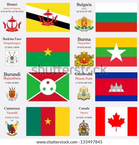 world flags of Brunei, Bulgaria, Burkina Faso, Burma or Myanmar, Burundi, Cambodia, Cameroon and Canada, with capitals, geographic coordinates and coat of arms, vector art illustration - stock vector