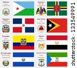 world flags of Djibouti, Dominica, Dominican Republic, East Timor, Ecuador, Egypt, El Salvador and Equatorial Guinea, with capitals, geographic coordinates and coat of arms, vector art illustration - stock photo