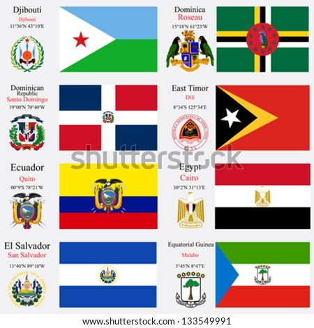 world flags of Djibouti, Dominica, Dominican Republic, East Timor, Ecuador, Egypt, El Salvador and Equatorial Guinea, with capitals, geographic coordinates and coat of arms, vector art illustration - stock vector