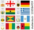 world flags of Georgia, Germany, Ghana, Greece, Grenada, Guatemala, Guinea and Guinea Bissau, with capitals, geographic coordinates and coat of arms, vector art illustration - stock photo
