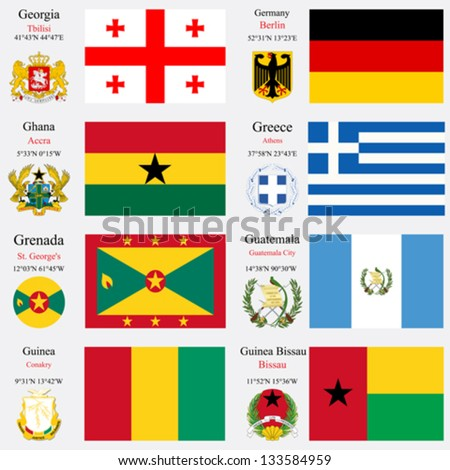 world flags of Georgia, Germany, Ghana, Greece, Grenada, Guatemala, Guinea and Guinea Bissau, with capitals, geographic coordinates and coat of arms, vector art illustration - stock vector