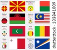world flags of Macedonia, Madagascar, Malawi, Malaysia, Maldives, Mali, Malta and Marshall Islands, with capitals, geographic coordinates and coat of arms, vector art illustration - stock photo