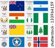 world flags of New Zealand, Nicaragua, Niger, Nigeria, Niue, Norfolk Island, Northern Mariana Islands and Norway, with capitals, geographic coordinates and coat of arms, vector art illustration - stock photo