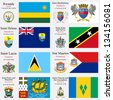 world flags of Rwanda, St Barthelemy, St Helena, St Kitts and Nevis, St Lucia, St Martin, St Pierre Miquelon and St Vincent and the Grenadines, with capitals, gps and coat of arms, art illustration - stock photo