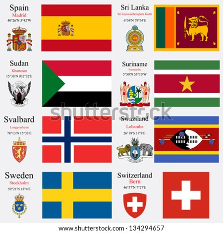 world flags of Spain, Sri Lanka, Sudan, Suriname, Svalbard, Swaziland, Sweden and Swiss Confederation, with capitals, geographic coordinates and coat of arms, vector art illustration