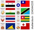 world flags of Syria, Taiwan, Tajikistan, Tanzania, Thailand, Togo, Tokelau and Tonga, with capitals, geographic coordinates and coat of arms, vector art illustration - stock photo
