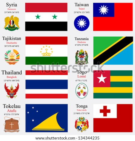 world flags of Syria, Taiwan, Tajikistan, Tanzania, Thailand, Togo, Tokelau and Tonga, with capitals, geographic coordinates and coat of arms, vector art illustration - stock vector