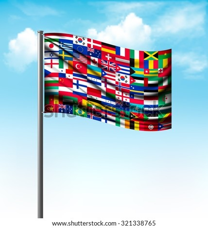World flags on a big flag. Vector.