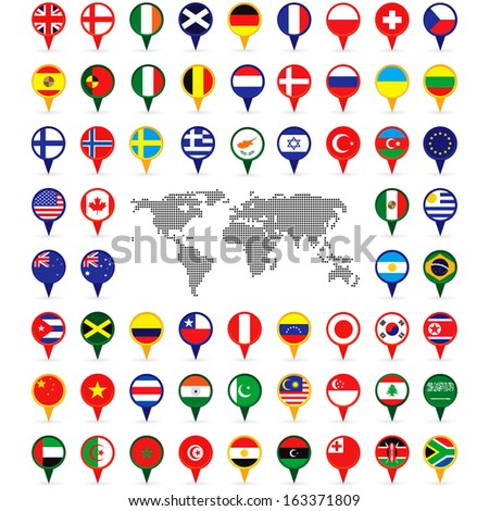 world flags on map pins - stock vector