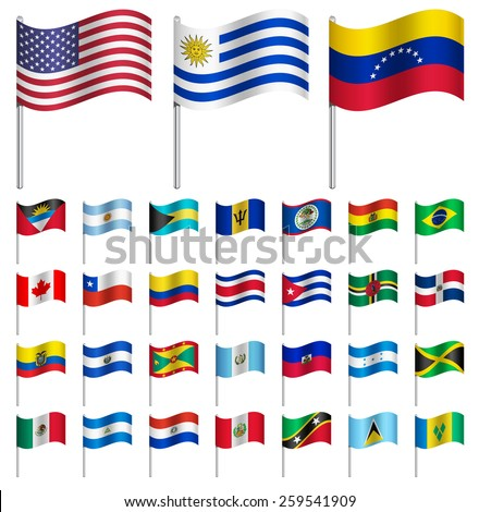 WORLD Flags on pole AMERICA  Part 1/6 Vector  - stock vector