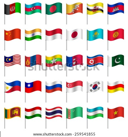 WORLD Flags on pole ASIA Part 4/6 Vector  - stock vector