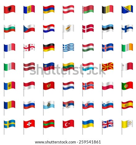 WORLD Flags on pole EUROPE Part 2/6 Vector  - stock vector