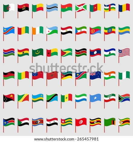 World flags on red pole Part 6/6 Africa - stock vector