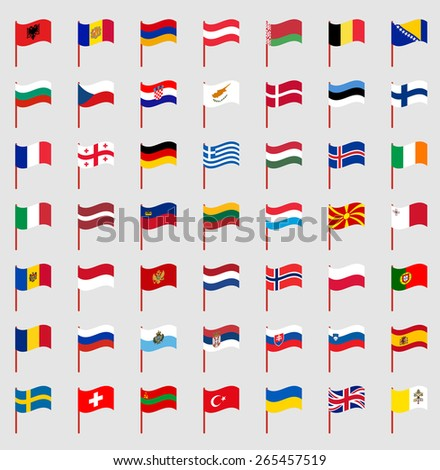World flags on red pole Part 2/6 Europe - stock vector