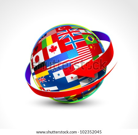 World flags sphere. Vector illustration