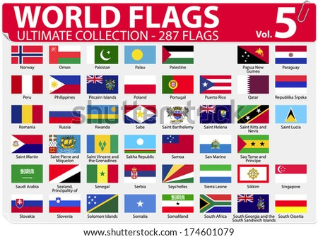 World Flags - Ultimate Collection - 287 flags - Volume 5 - stock vector