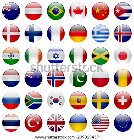World flags vector collection. 36 high quality round glossy icons. Correct color scheme. - stock vector