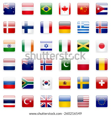 World flags vector collection. 36 high quality square glossy icons. Correct color scheme.