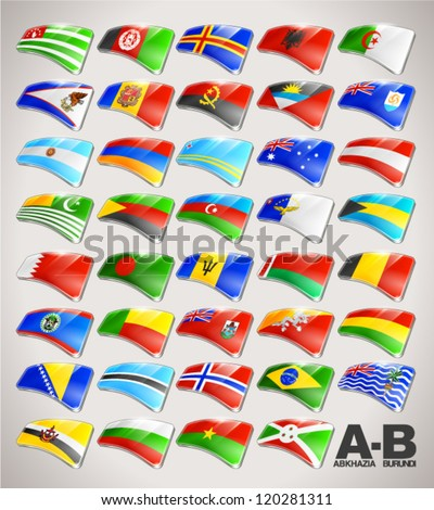 World Flags Vector Icon Collection from A to B - stock vector