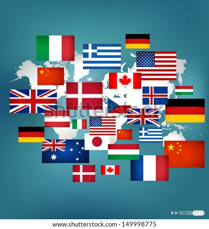 World flags. Vector illustration. - stock vector